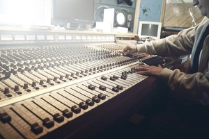 Sound producer at his mixing table